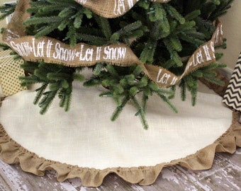 White Burlap Christmas Tree Skirt with Natural Burlap Hemmed Ruffle - Fully Lined