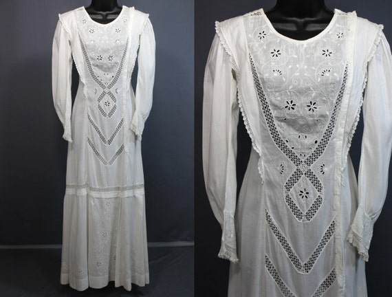 Edwardian Dress........Gorgeous White Cotton Edwardian Day Dress