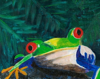 Frog Eyes -055-Mixed Media Painting by Carianne James