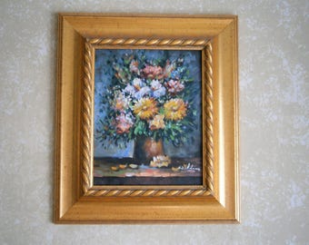 Original Oil Painting, Vase of Flowers, Floral Painting, Signed Painting,Gold Wood Frame, Still Life Painting, Yellow, White, Pink Flowers