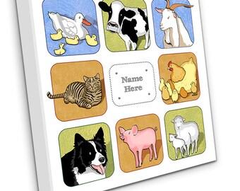 Personalised Farm Animals on Canvas