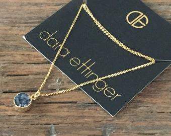 Dara Ettinger Black Druzy pendant Necklace