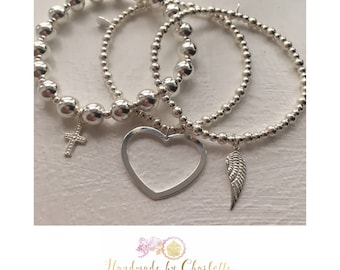 Sterling Silver Beaded Bracelet with Large Open Heart Charm