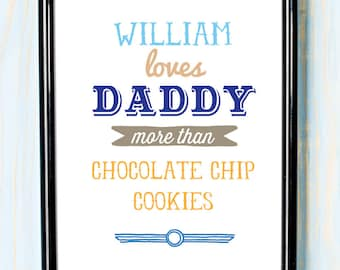 """Personalised Daddy loves 8x10"""" wall art print Father's Day"""