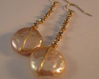 Pearl Dangle Earrings, gold earrings, pearl earrings, dangle earrings, drop earrings, coin pearl earrings, preal, fresh water pearl