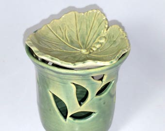 Green Votive Candle Holder or Luminary with Vine Cut-outs with or without a Leaf Oil Diffuser -  Wheel Thrown Pottery
