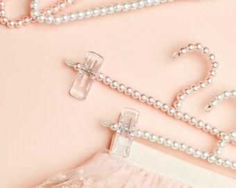 pearl clip hanger. pale pink pearl clip hanger. childs clip pearl hanger. cream pearl hanger