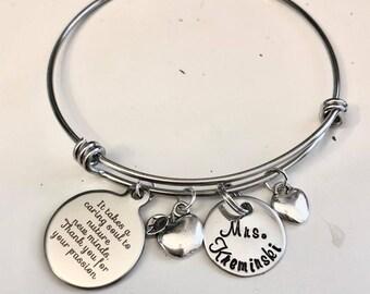 Personalized  Teacher stainless steel Bracelet for End of Year Gift, Teacher Appreciation Week
