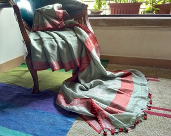 Olive green linen saree with red border