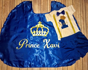 Birthday Cape and Onesie Set.  1st Birthday Outfit.  Birthday Prince Outfit. Birthday Princess Outfit. Personalized Birthday Outfit.