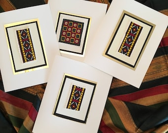 African Fabric Swatch Note Cards