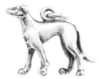 Sterling Silver Greyhound Dog Charm Pendant (3D Charm)