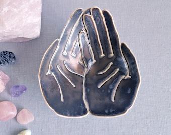 OFFERING hands bowl life size golden black glaze