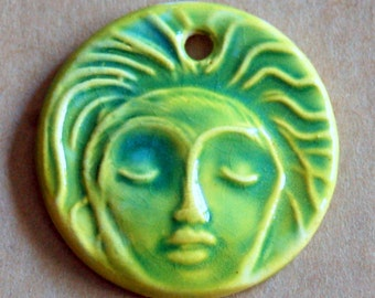 Meditation Face Ceramic Bead in Spring Green - Pendant Bead with Extra Large Hole