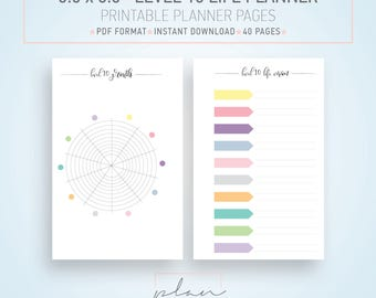 5.5 x 8.5 planner, Printable planner, Resolutions Planner, Level 10 Life, Half letter inserts, Goal Planner, Bullet Journal, Half size