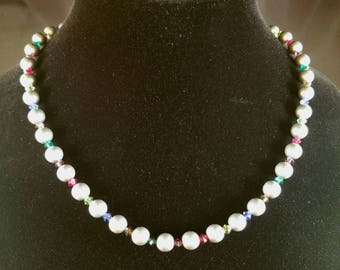 Glass Pearls and Jewel Tone Crystal Necklace One Of A Kind
