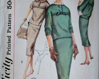 Misses' Two-Piece Dress, Vintage 50's Simplicity 2616 Sewing Pattern, Size 12, 32 Bust, 1950's Fashion