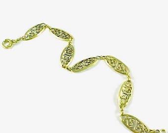 French Art Nouveau Filigree 18k Gold Link Bracelet
