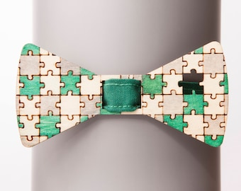 Missing Element Green-Gray Bow Tie