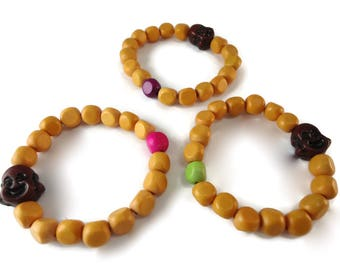 Buddha Bracelet Bright Colored Beads, Pink Purple or Green Bracelet Buddha Jewelry Orange Wood Beads, Wood Buddha Accessories for Her or Him