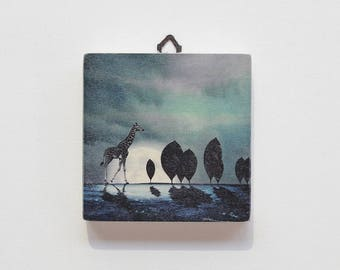 Illustration print on wood Moonlight Giraffe-wood panel