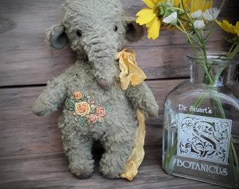 Elephant Teddy's friend handmade stuffed animal with embroidery