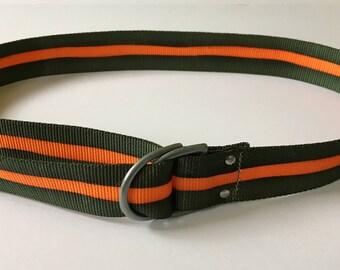 """Vintage 80's 1980's Nylon Green & Orange Belt with metal buckle 42"""" Men's Women's"""