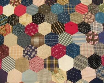 "Antique Hexagon 1860's Hand Sewn Quilt Top. 46""x81""."