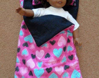 Sleeping Bag fits 18 inch doll/Pink with Hearts