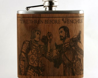 Brotherhood gift flask - Brethren Before Wenches - wood  flask - unique gift for groomsmen, best friend, groom