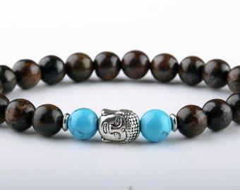 Buddha head bracelet Healing bracelet Spiritual bracelet Yoga bracelet Buddha Jewelry Reiki Bracelet Bronzite bracelet Gift for friend