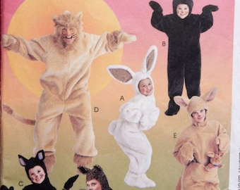 McCall's 8953 Adults' animal costume pattern - be a lion, bunny, bear, kangaroo or cat Uncut Size large (38, 40)