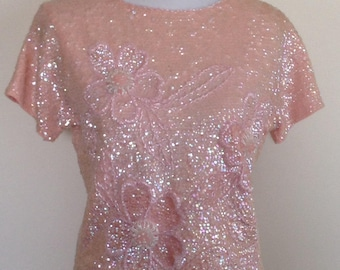 1960's top, pink sequin beaded flower top