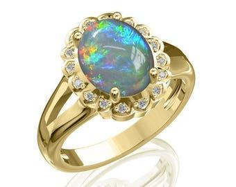 10x8mm Australian Black Opal Ring w/ 0.08ct Diamond in 14K or 18K Gold 1.83TCW Sku: R2444