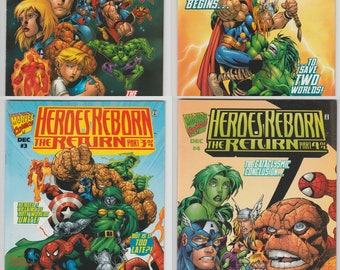 COMPLETE SET Heroes Reborn The Return #1-4! Marvel 1997 Comic Book Lot Captain America Iron Man The Hulk Spider-man Thor The Avengers