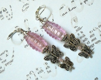 Pink and Silver Butterfly Earrings (2798)