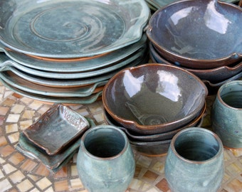 Eclectic Dinnerware Set of 6 Place Settings in Slate Blue - Made to Order