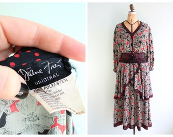 Vintage 1980's Diane Freis Floral Dress | Size XS-Medium