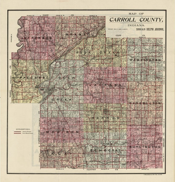 Carroll County Indiana 1898 Old Wall Map Reprint with