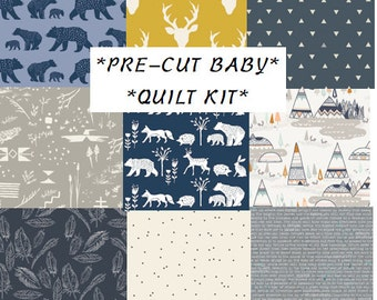 Baby Boy Quilt Kit, Modern Rustic Woodland Nursery Quilting Cotton, Pre-Cut Quilting Squares, Bears, Teepees, Antlers, Elk, Navy Blue, Gray