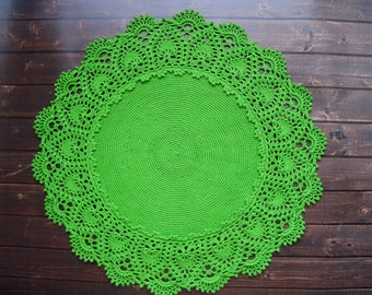crochet doily, green crochet doily, round doily, lace tablecloth 16""