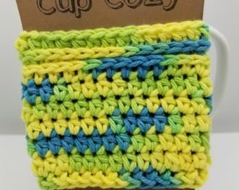 Crochet Coffee Cup Sleeve Cozy Multi-Colored Green Blue Yellow Cup Cozy