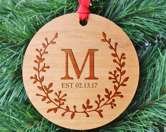 SHIPS FAST, Engraved Family Established Ornament, Personalized Name Christmas Ornaments, Stocking Stuffers, Christmas Gifts for Mom, ORN33