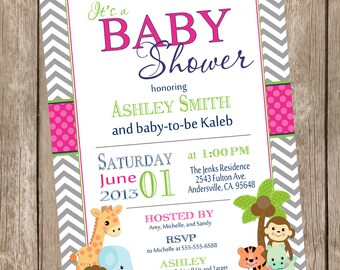 Safari Baby Shower Invitation, safari, chevron, hot pink, green, navy, jungle, typography, printable invitation