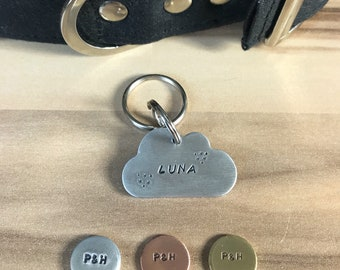 Cloud Dog ID Tag, Hand Stamped Tag, Hand Cut Copper, Brass, Aluminium