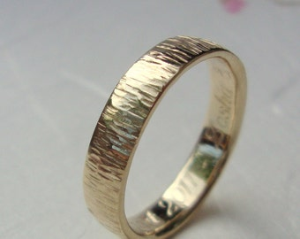 Gold Bamboo ring- 10k band ring with bamboo inspired texture