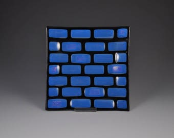 Dichroic Fused Glass Tray in Blue on Black Glass With Clear Dichroic Glass Accents  with Iridescent Back G42