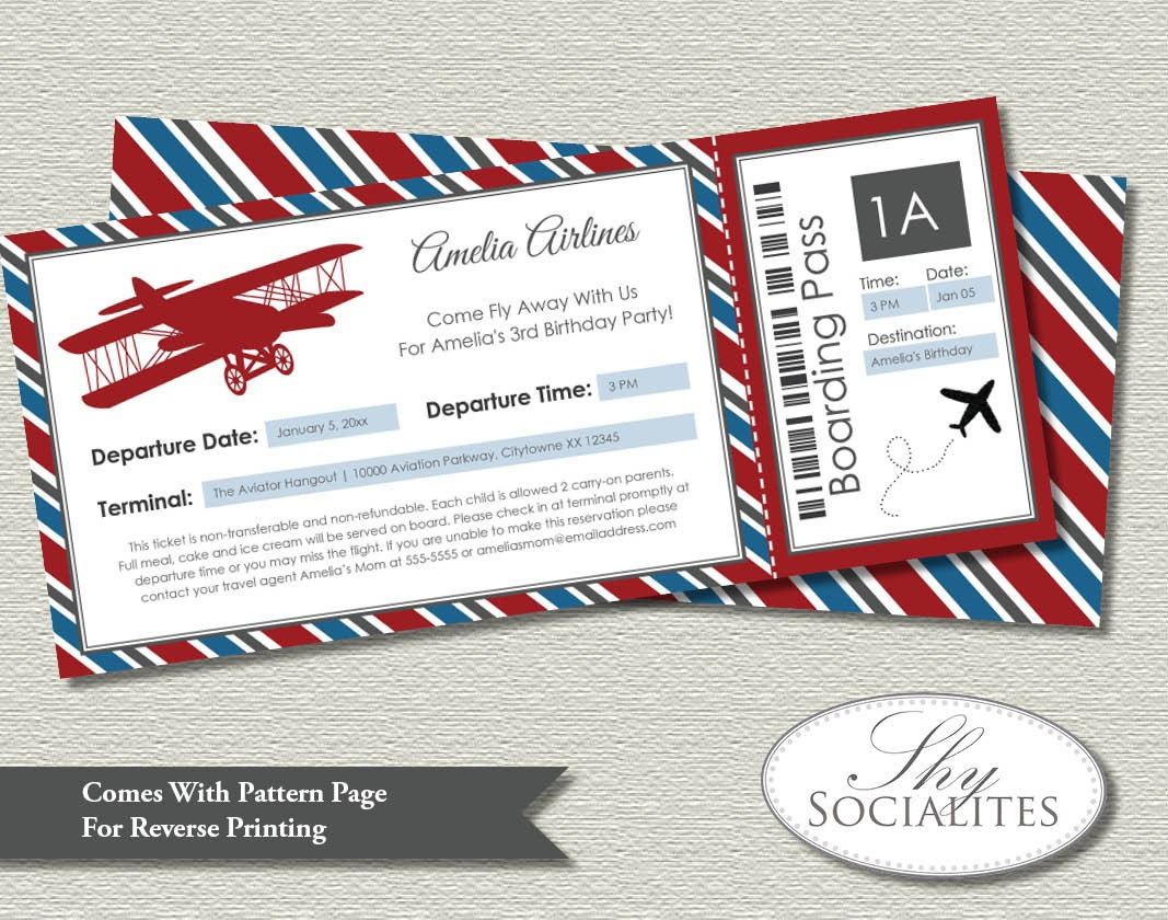 Vintage Airplane Boarding Pass Invitations Ticket Up Up And - Airplane birthday invitation template