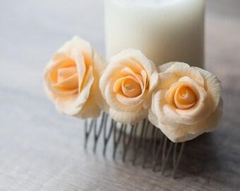Peach hair comb - peach flower hair accessories - peach wedding - peach rose comb - flower hair comb - rose headpiece - rose hair piece