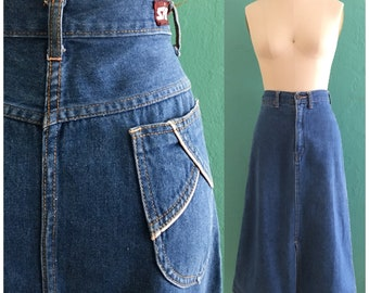 vintage 70's denim skirt // high waist jean skirt